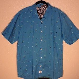 Short sleeve button up down blue Volcom shirt. L